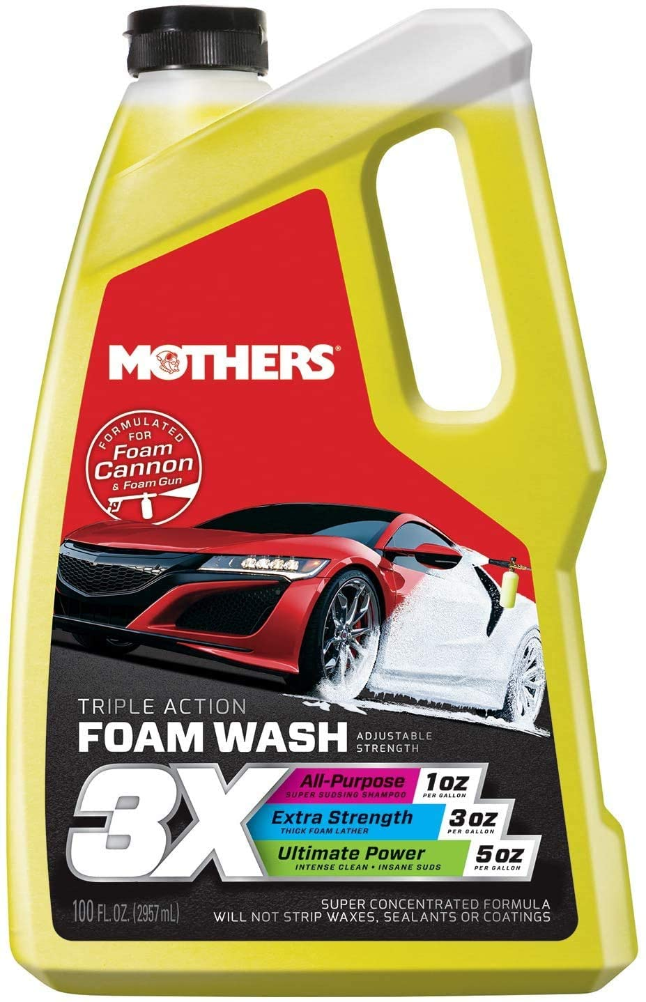 Snow Foam Car Wash by Mothers is a yellow container stating 3X foam wash on the label