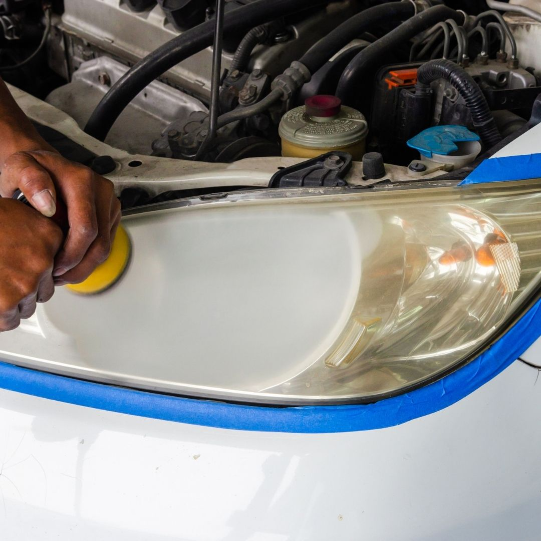 Polish headlights with a rotary polisher for best effect